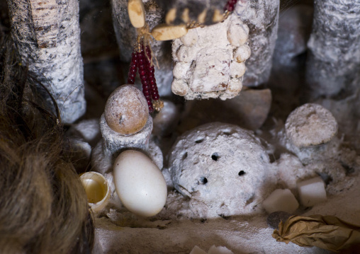 Benin, West Africa, Bonhicon, eggs offered to the spirits during a voodoo ceremony
