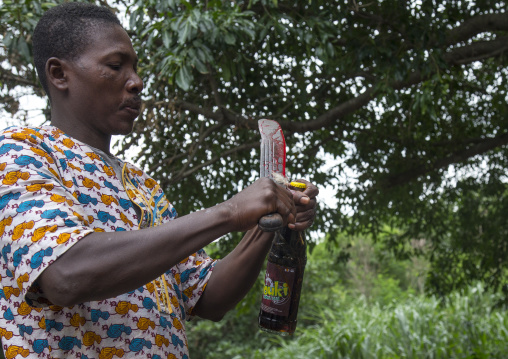 Benin, West Africa, Dankoly, a priest opens a coca cola bottle with a blooded knife during a voodoo ceremony