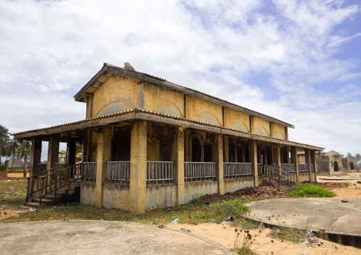 Benin, West Africa, Ouidah, abandoned hotel on the beach