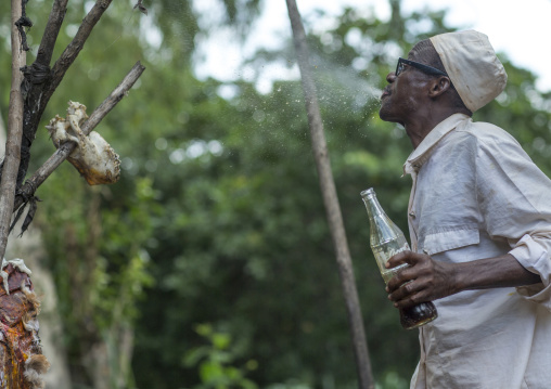 Benin, West Africa, Dankoly, a priest spitting coca cola on a voodoo shrine to make an offering to the spirits