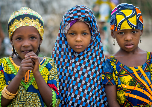 Benin, West Africa, Savalou, three fulani peul tribe girls