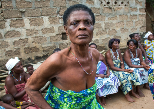 Benin, West Africa, Bopa, woman in trance dancing during a traditional voodoo ceremony
