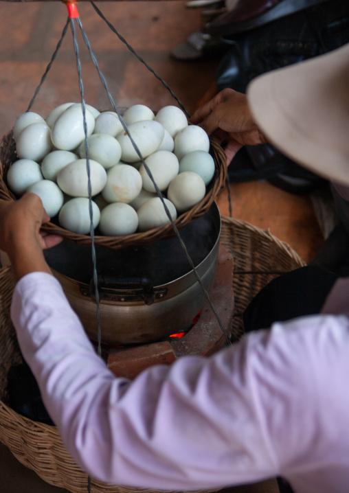 Boiled eggs for sale on a market, Battambang province, Battambang, Cambodia