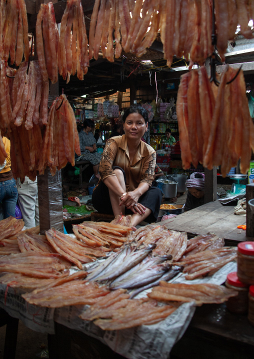 Cambodian woman selling dry fishes in a market, Phnom Penh province, Phnom Penh, Cambodia