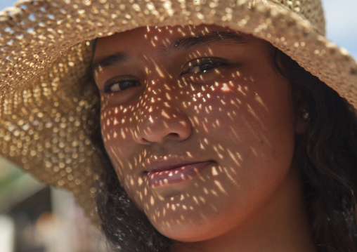 Young Woman From Easter Island With Hat, Chile