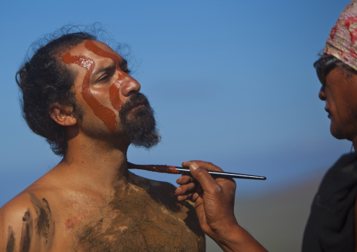 Haka Pei, Body Painting Before The Banana Competition During Tapati Festival, Easter Island, Chile