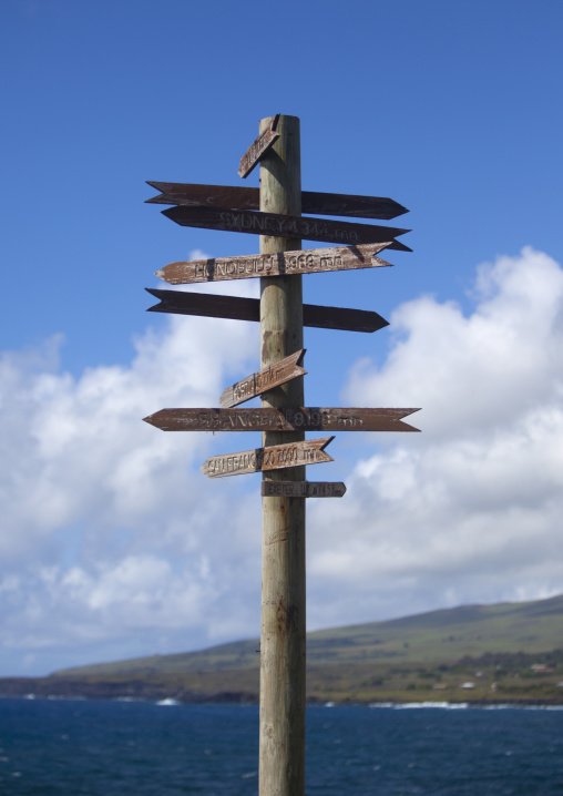 Distances PIllar In Hanga Roa, Easter Island, Chile