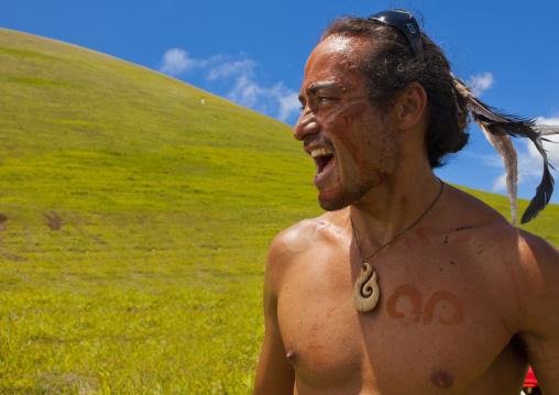 Winner Of Tau' A Rapa Nui Race Competition During Tapati Festival, Easter Island, Chile