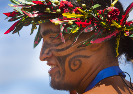 Man With Traditional Headdress And Make Up In Tapati Festival, Easter Island, Chile