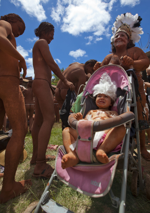 Mother And Baby During Tapati Festival, Easter Island, Chile