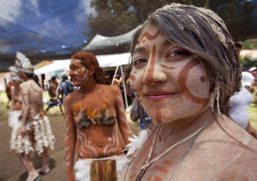 Tourists During Carnival Parade, Tapati Festival, Easter Island, Chile