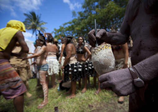 Painting Ceremony During Tapati Festival, Easter Island, Chile