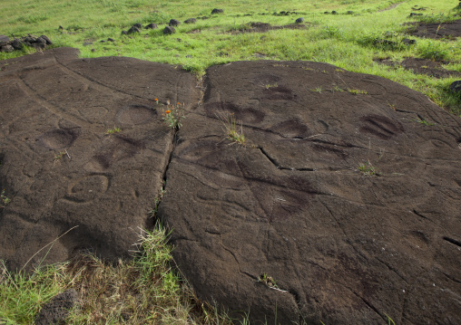 Canoe Petroglyph In Paka Vaka Rock Art Site, Easter Island, Chile