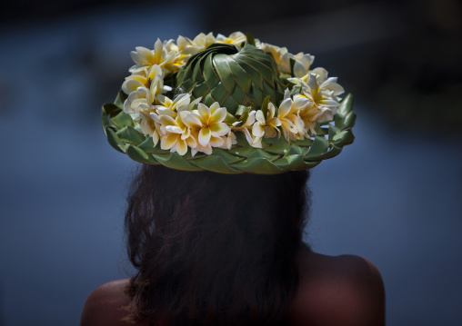 Woman From Easter Island With Traditional Headdress, Chile
