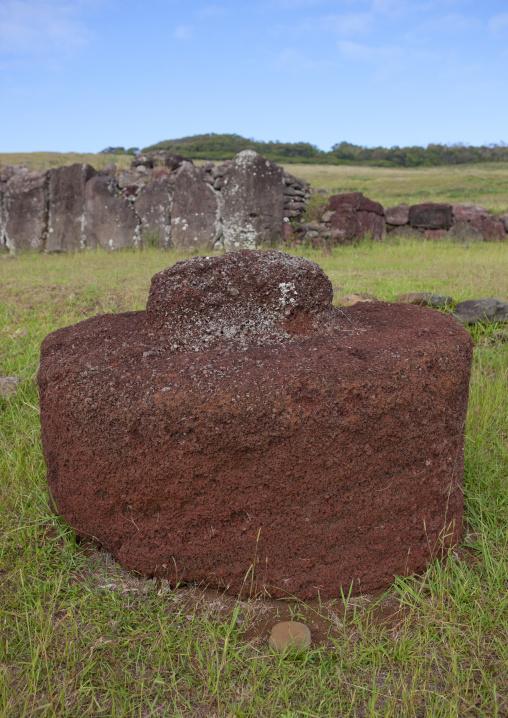 Pukao At Vinapu Site, Easter Island, Chile