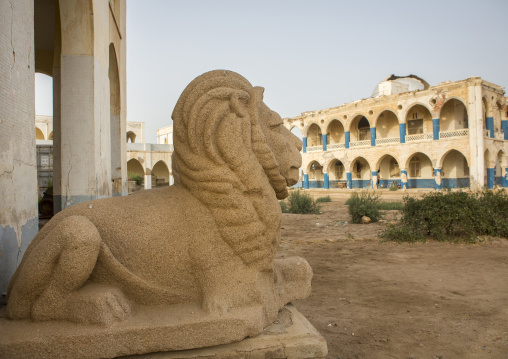 Lion Statue In The Old Palace Of Haile Selassie, Northern Red Sea, Massawa, Eritrea