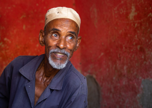 Portrait of a butcher looking away, Gash-Barka, Agordat, Eritrea