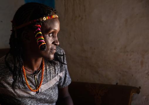 Portrait of a Kunama tribe woman with traditional hairstyle, Gash-Barka, Barentu, Eritrea