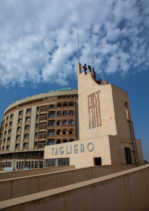 Futurist architecture of the FIAT tagliero service station built in 1938 in front of nakfa house, Central region, Asmara, Eritrea
