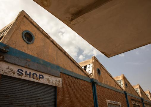 Old FIAT garage now used as a parking, Central region, Asmara, Eritrea