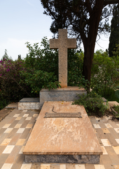 Architect odoardo cavagnari old grave from the italian colonial era, Central region, Asmara, Eritrea