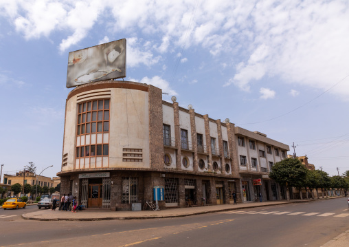 Exterior of zilli bar with its radio-style facade from the italian colonial times, Central region, Asmara, Eritrea