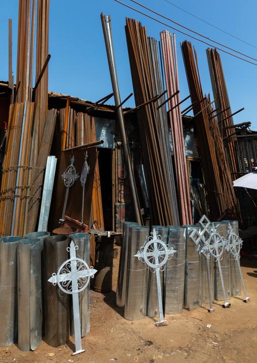 Crosses in Medebar metal market, Central region, Asmara, Eritrea