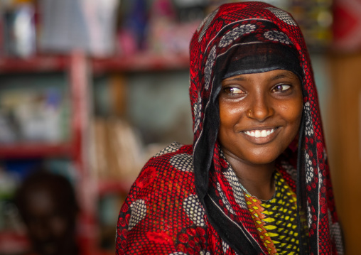Portrait of a beautiful afar tribe young woman, Northern Red Sea, Massawa, Eritrea