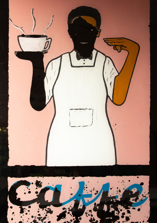 Old italian caffe billboard on a shop, Central region, Asmara, Eritrea