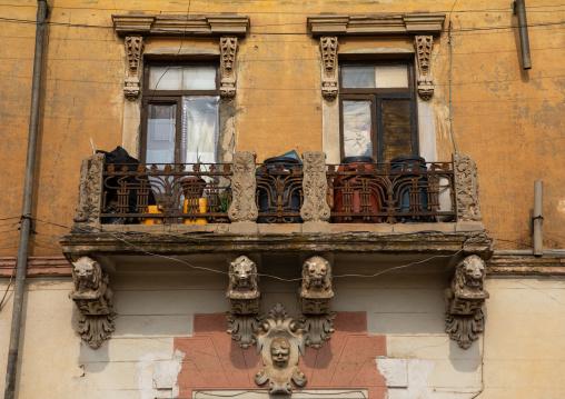 Exterior of old house balcony from the italian colonial times, Central region, Asmara, Eritrea
