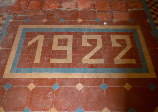 Colorful italian tiles in an old building from 1922, Central region, Asmara, Eritrea