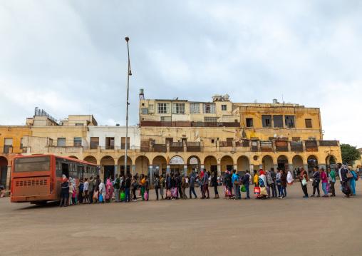 Eritrean people queueing to take the bus, Central region, Asmara, Eritrea