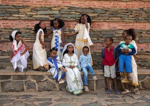 Eritrean children in enda mariam orthodox cathedral, Central region, Asmara, Eritrea