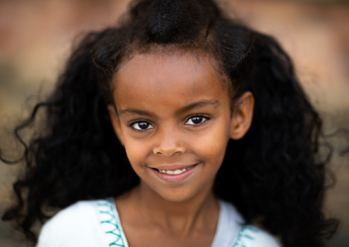 Portrairt of an eritrean orthodox girl with traditional hairstyle, Central region, Asmara, Eritrea