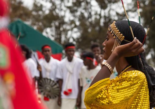 Afar tribe people dancing during expo festival, Central region, Asmara, Eritrea