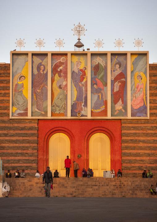People Praying At Enda Mariam Orthodox Cathedral, Asmara Eritrea, Central region, Asmara, Eritrea