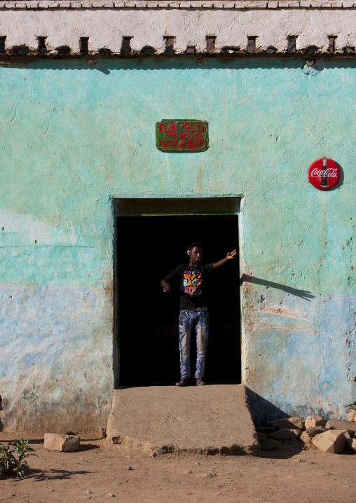 Man Standing At The Entrance Of A Bar, Anseba, Keren, Eritrea