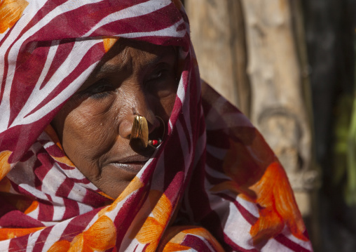 Old Woman With Nose Ring In Monday Market, Anseba, Keren, Eritrea