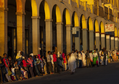 People Waiting For A Bus In Front Of The Arcades, Central region, Asmara, Eritrea
