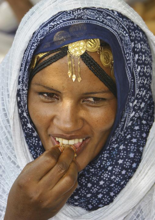 Woman Eating At Festival Of Mariam Dearit, Keren, Eritrea
