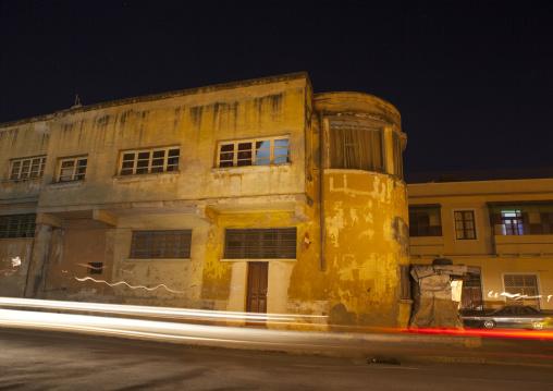 Old Italian Colonial Buildings At Night, Central region, Asmara, Eritrea