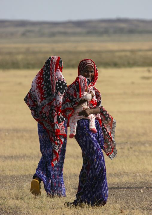 Afar Tribe Women With Baby, Thio, Eritrea