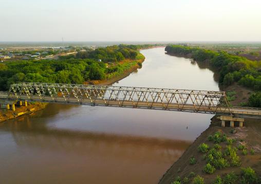 Aerial view of the metal bridge over Omo river, Omo Valley, Omorate, Ethiopia