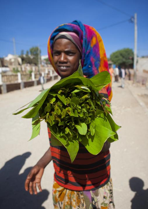 Portrait Of A Woman Selling Khat In Harar, Ethiopia