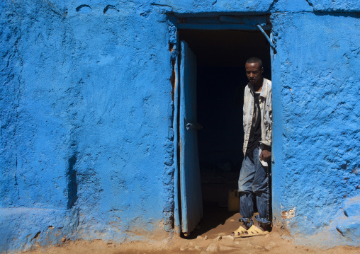 Portrait Of A Man Chained By His Parents After Becoming Mad Due To An Overdose Of Qat, Harar, Ethiopia