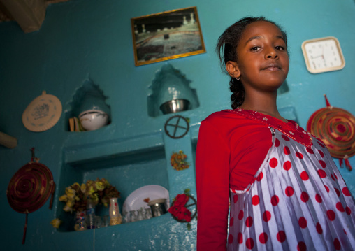 Portrait Of A Girl In An Harari Old House With A Niche In The Wall, Harar, Ehtiopia