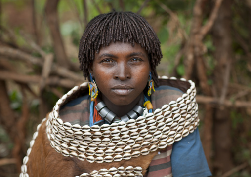 Bana Married Woman Wearing Skin And Shell Garment In Key Afer, Omo Valley, Ethiopia