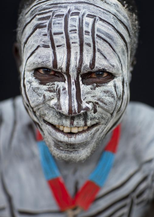 Portrait Of Karo Man With White Paint On Face  Omo Valley Ethiopia