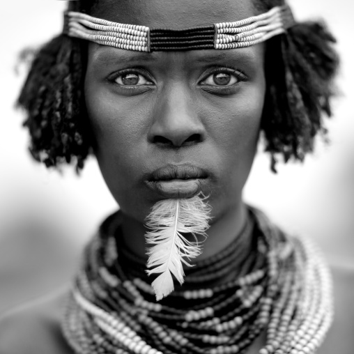 Dassanech Woman Portrait With Beaded Necklaces And Feather Omo Valley Ethiopia