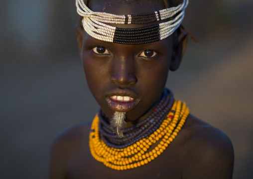 Dassanech Tribe Girl With A Feather In The Chin, Omorate, Omo Valley, Ethiopia